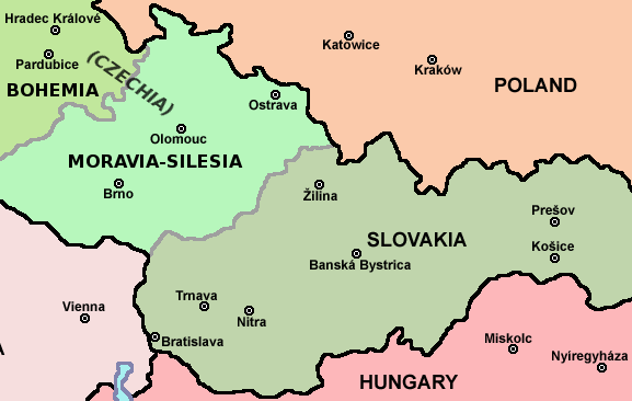 Map of Czech Republic and Slovakia