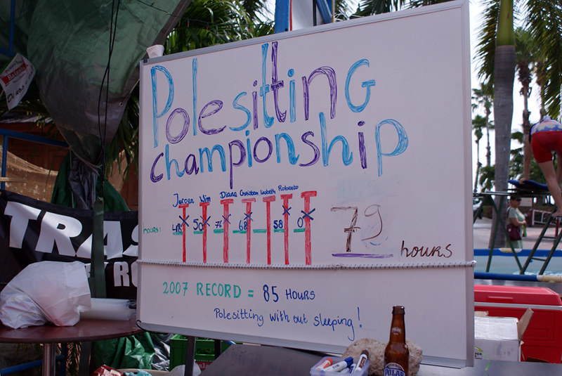 Polesitting championship sign (by FotoCastor via Flickr/Creative Commons)