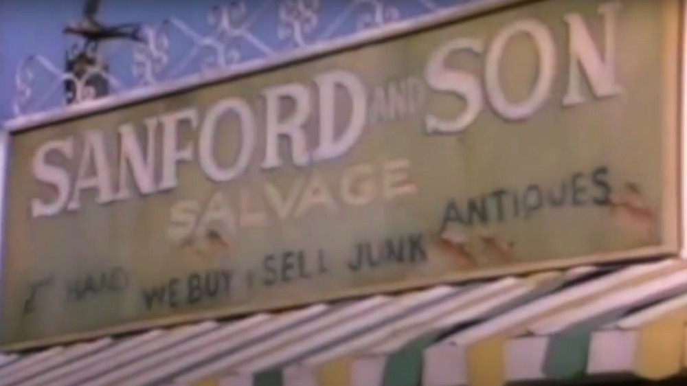the shop sign from Sanford and Son's opening sequence