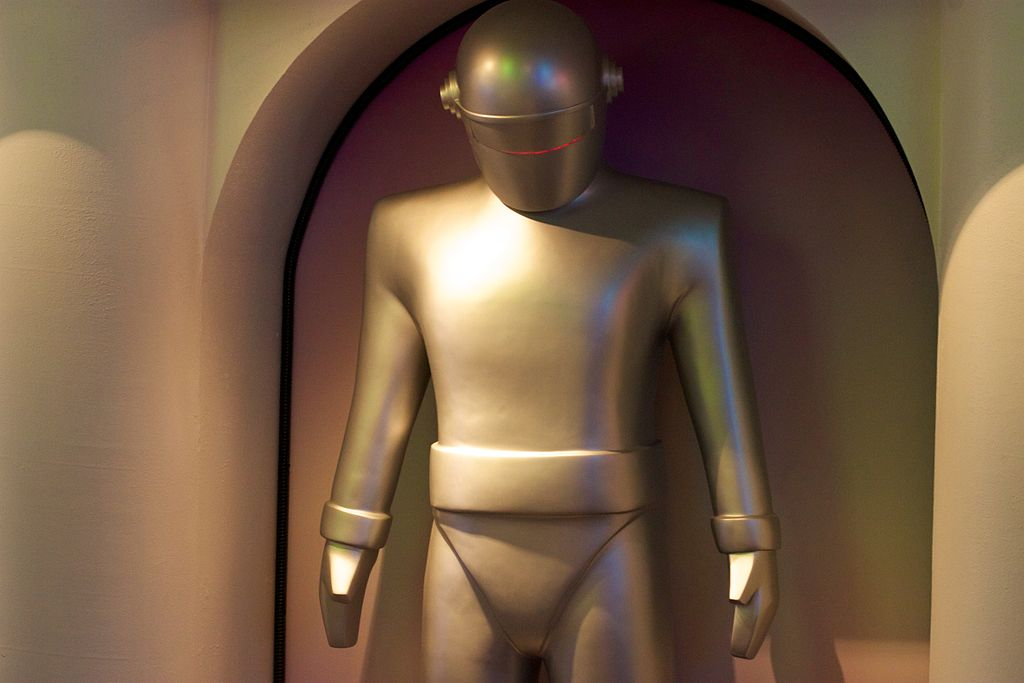 """Replica of Gort from """"The Day The Earth Stood Still"""" at the Robot Hall of Fame. Jiuguang Wang from Pittsburgh, Pennsylvania, United States, CC BY-SA 2.0 https://creativecommons.org/licenses/by-sa/2.0, via Wikimedia Commons https://commons.wikimedia.org/wiki/File:Gort,_on_display_at_the_Robot_Hall_of_Fame.jpg"""