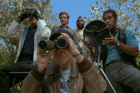 The A-Team and Frankie check out the situation using receiver dishes and binoculars