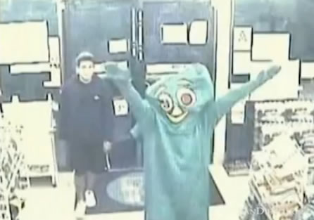 Guy in a Gumby suit doing a robbery