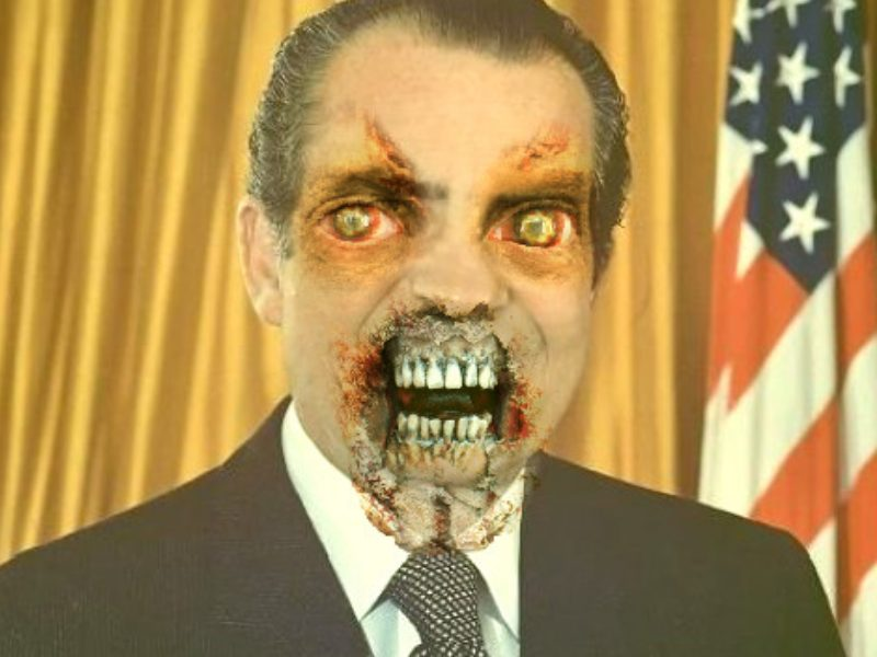 Richard Nixon as a zombie