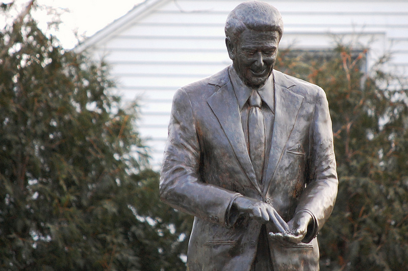 Statue of President Ronald Reagan outside the Reagan Boyhood Home, Dixon, Illinois