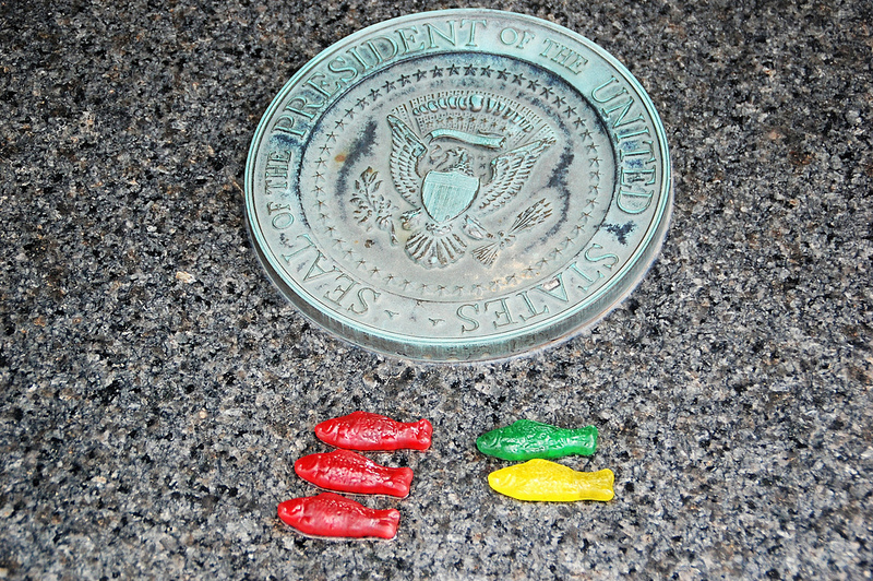 gummi candies next to the presidential seal