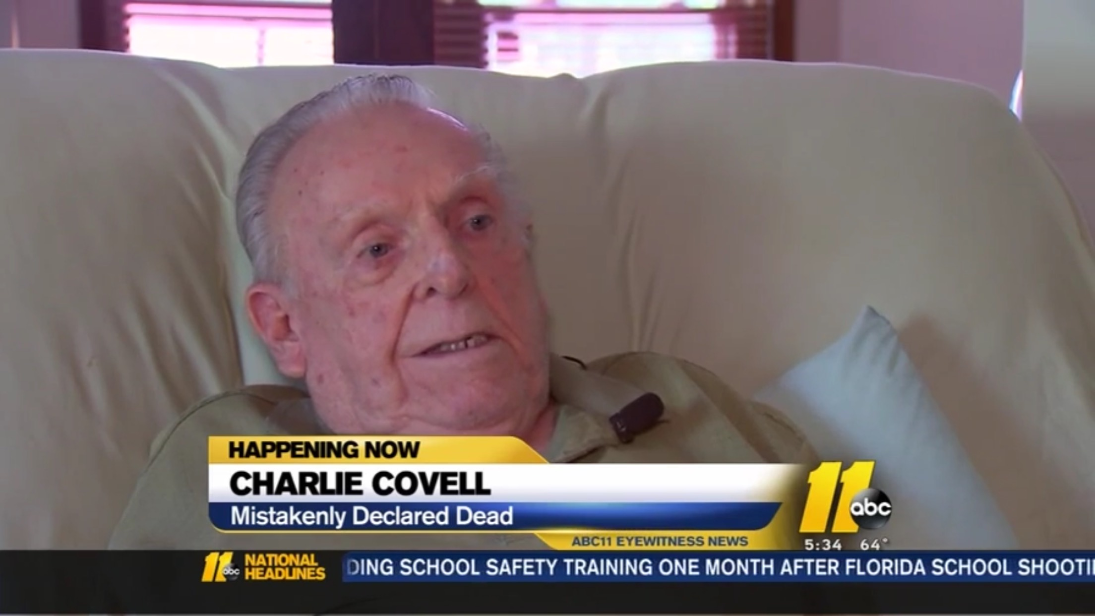Charlie Covell: Mistakenly Declared Dead