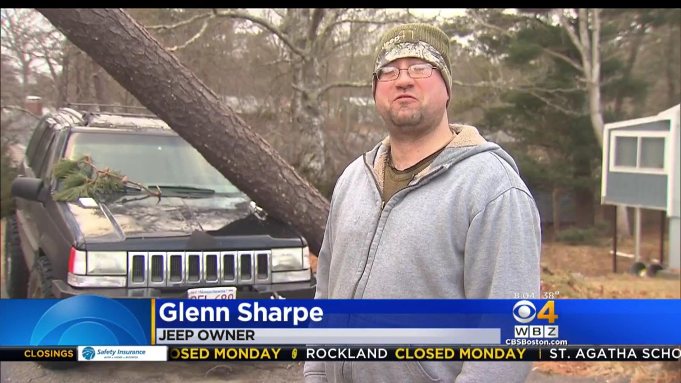 Glenn Sharpe: Jeep Owner. A tree has fallen onto Glenn's Jeep.