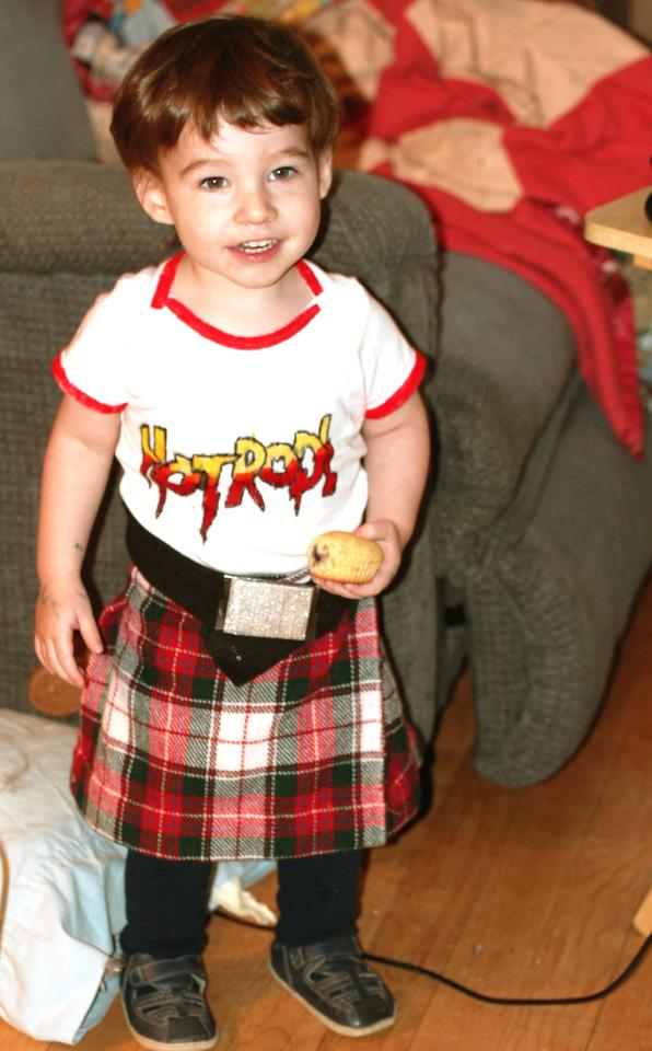 A very cute little toddler version of Rowdy Roddy Piper