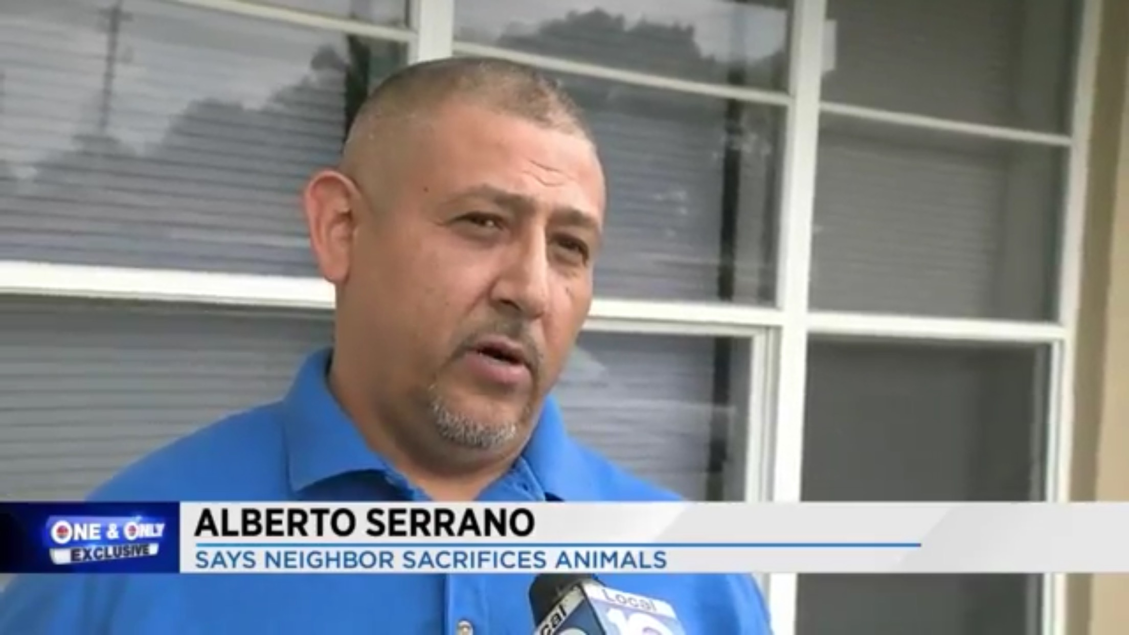 Alberto Serrano: Says Neighbor Sacrifices Animals