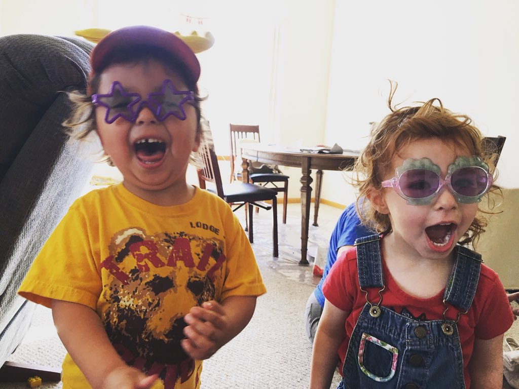 Two of the Carlson Kids with cool sunglasses on