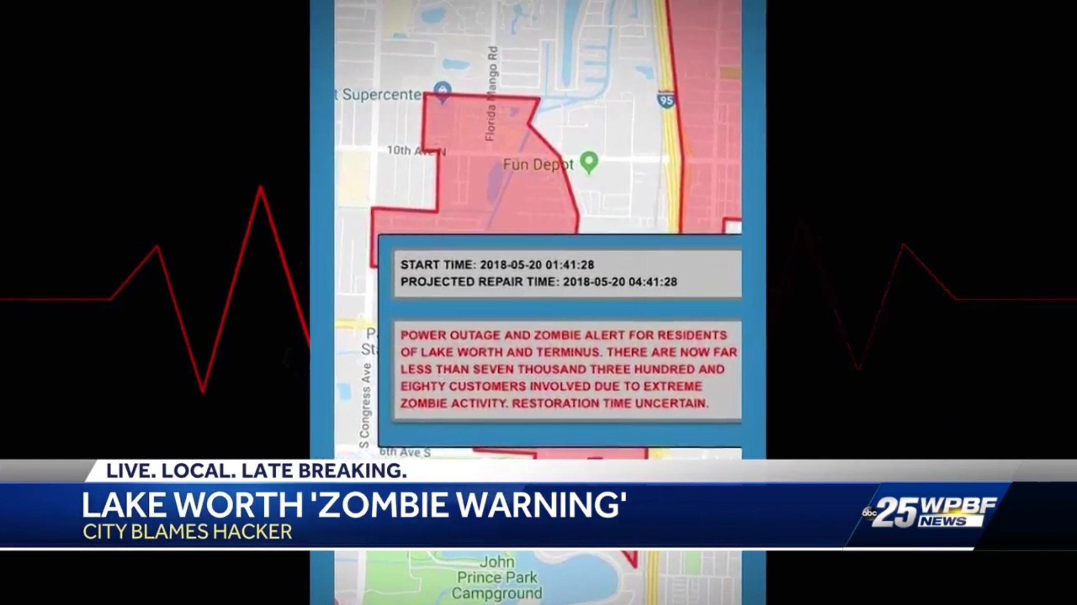 Lake Worth 'Zombie Warning': City Blames Hacker