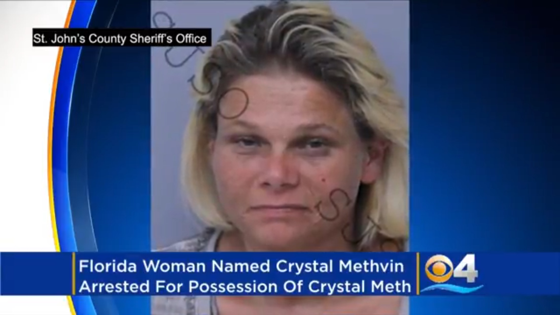 Florida Woman Named Crystal Methvin Arrested For Possession Of Crystal Meth