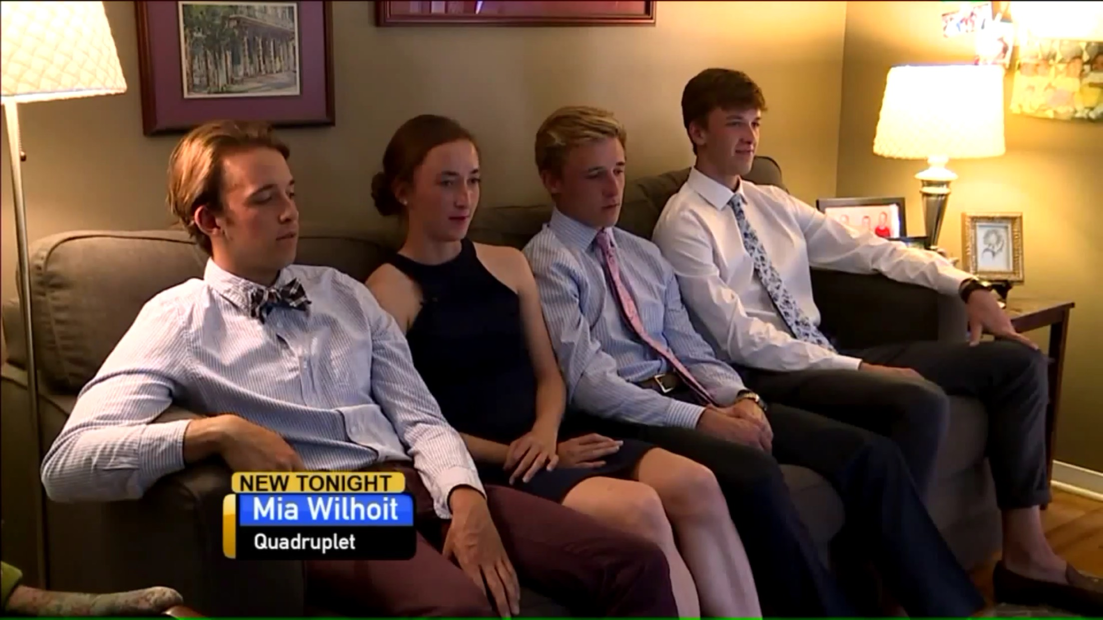 Mia Wilhoit: Quadruplet (sitting with her three brothers)