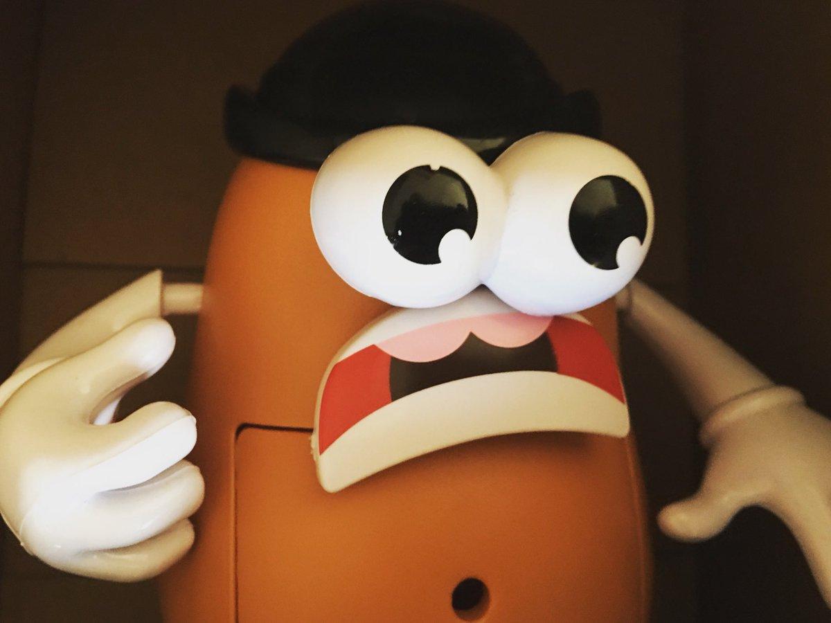 Mr. Potato Head looks terrified