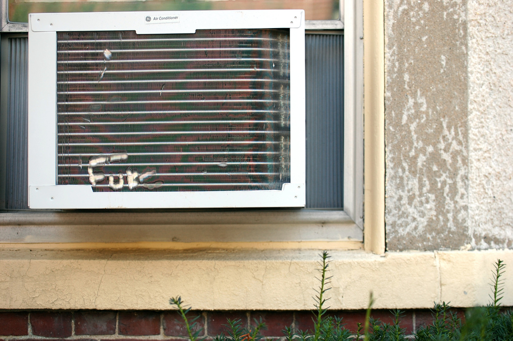 """Someone wrote """"FUKC"""" on an air conditioner"""