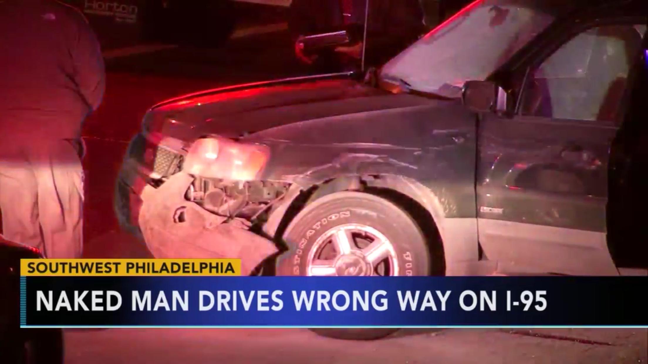 Naked Man Drives Wrong Way On I-95