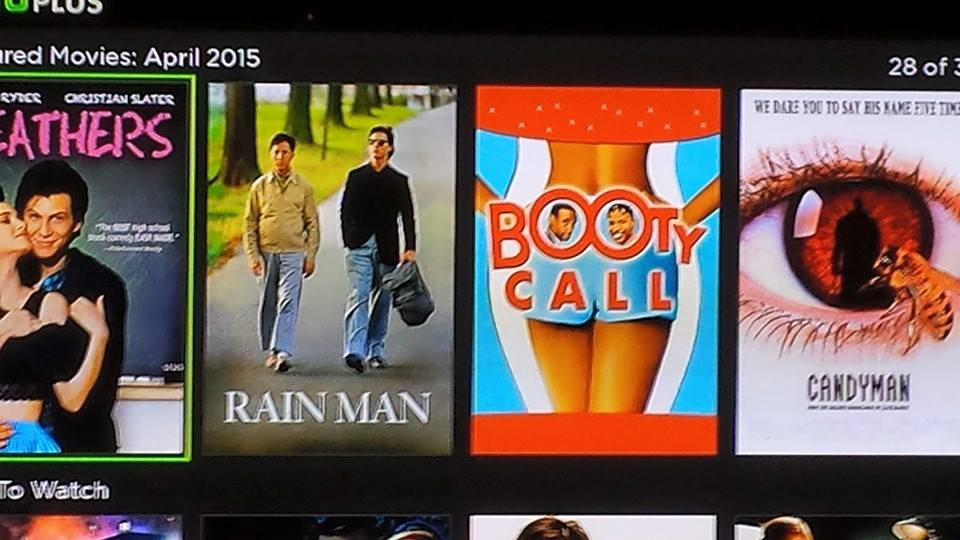 Rain Man next to Booty Call