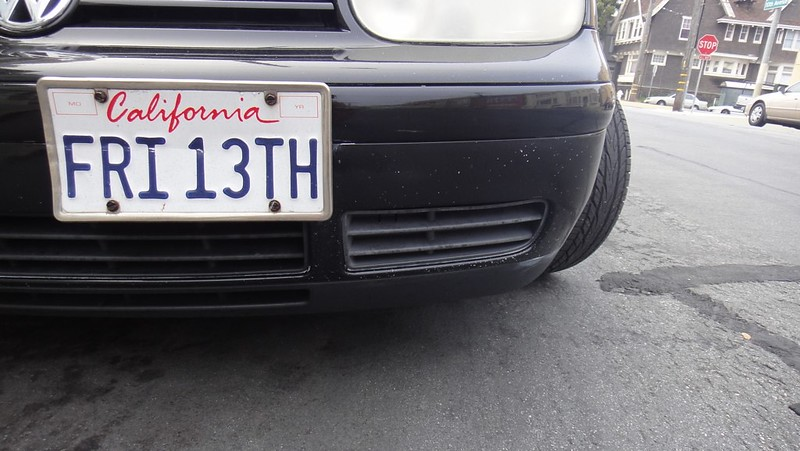 California license plate says FRI 13TH (photo by Lynn Friedman via Flickr/Creative Commons https://flic.kr/p/8CJ7Zd)