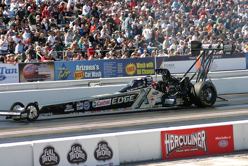 Brittany Force in her top fuel dragster at the 2013 NHRA Arizona Nationals at Firebird International Raceway. (Photo by Stephen Mellentine via Flickr/Creative Commons https://flic.kr/p/dXeT9V)