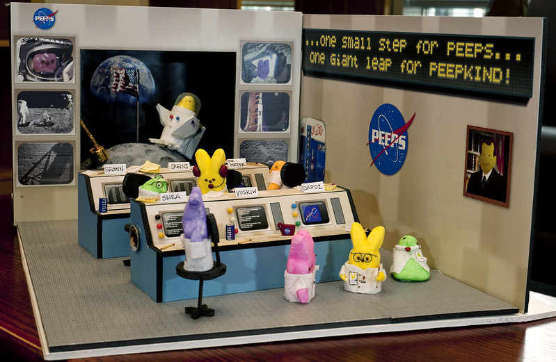 A diorama of a Peep-themed Apollo 11 Mission Control (NASA/Paul E. Alers via Flickr/CC)