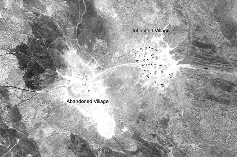 U2 images of southern Iraq present the layout, size, and environmental position of Marsh Arab communities in the late 1950s and early 1960s, many of which disappeared after massive hydroelectric dams impounded the rivers, and after the government of Saddam Hussein deliberately drained the marshes. (Photo courtesy University of Pennsylvania)