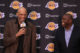 Kareem Abdul-Jabbar and Magic Johnson share a laugh at Byron Scott Lakers press conference (2014). © Oliver Petalver / TheDailySportsHerald. Attribution-NonCommercial-NoDer ivs Creative Commons