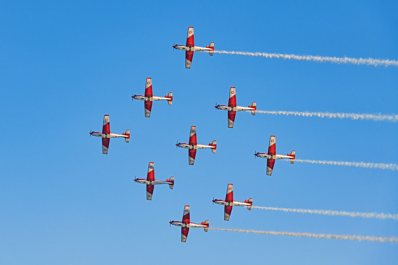 A formation flight by Patrouille Suisse at a 2019 air show. (Photo by Tambako the Jaguar via Flickr/Creative Commons https://flic.kr/p/2isFdKo)