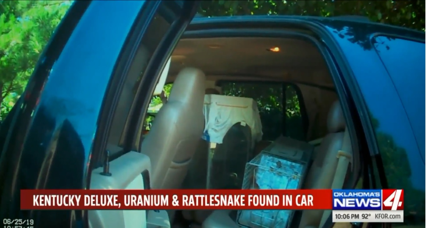 Kentucky Deluxe, Uranium & Rattlesnake Found In Car