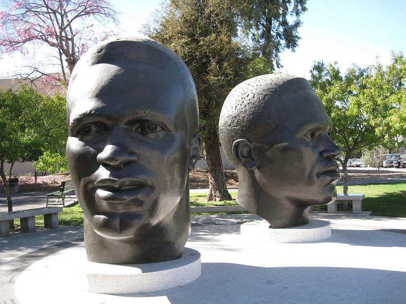 Pasadena, CA memorial to Mack and Jackie Robinson. (Photo by Little Koshka via Flickr/Creative Commons https://flic.kr/p/7cE6Nm)