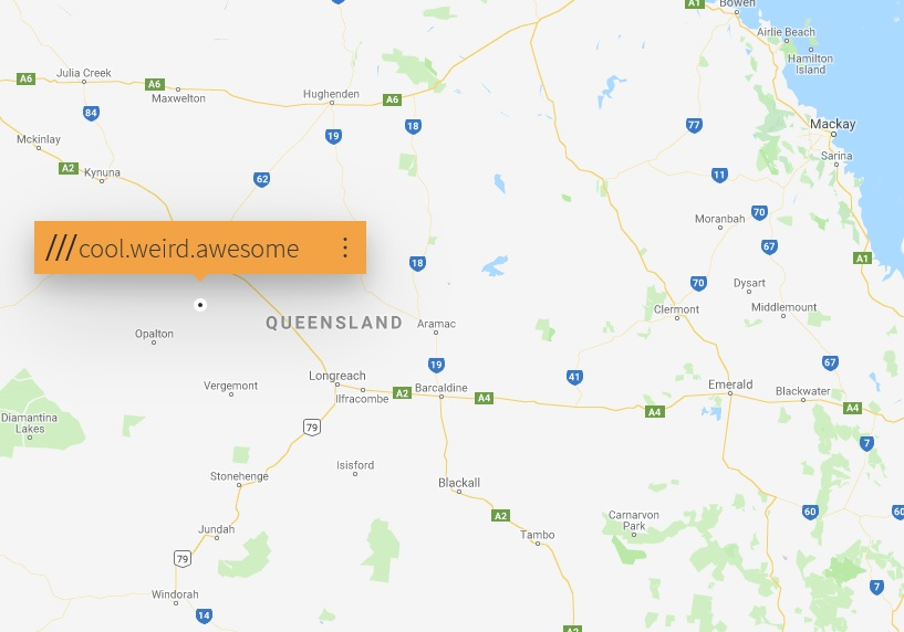"""What3Words map with a """"Cool.Weird.Awesome"""" square in Queensland, Australia"""
