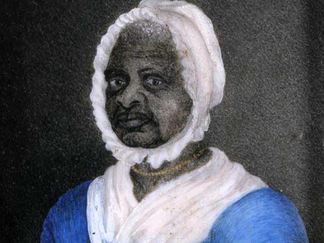 Mum Bett, aka Elizabeth Freeman, aged 70. Painted by Susan Ridley Sedgwick, aged 23. Watercolor on ivory, painted circa 1812. Via Wikicommons https://commons.wikimedia.org/wiki/File:Mumbett70.jpg