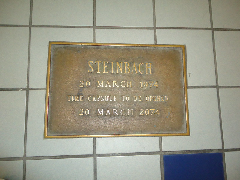 """Sign: """"Steinbach 20 March 1974, Time Capsule To Be Opened 20 March 2074"""" from a mall in Egg Harbor Township, NJ. (Photo by Thomas via Flickr/Creative Commons https://flic.kr/p/dKXL4t)"""