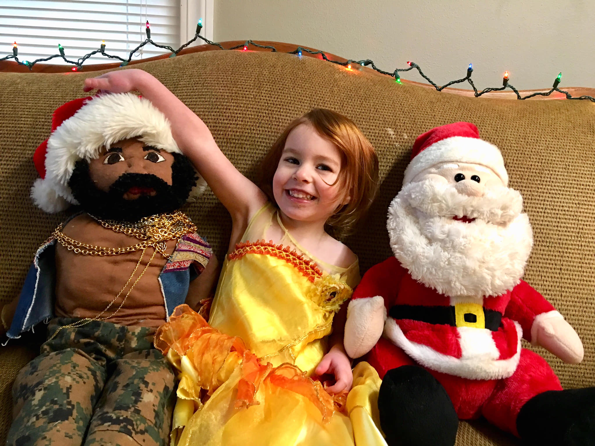 Almost 3 year old with Mr. T and Santa