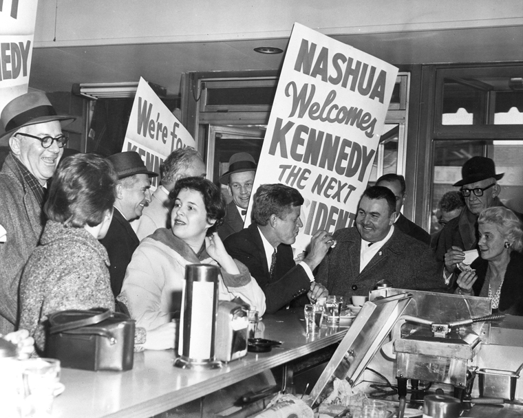 John F. Kennedy campaigning in Nashua, New Hampshire. (Photo via John F. Kennedy Presidential Library and Museum, Boston.)