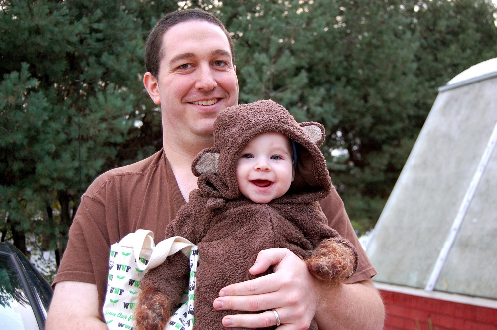 Baby boy in his bear costume