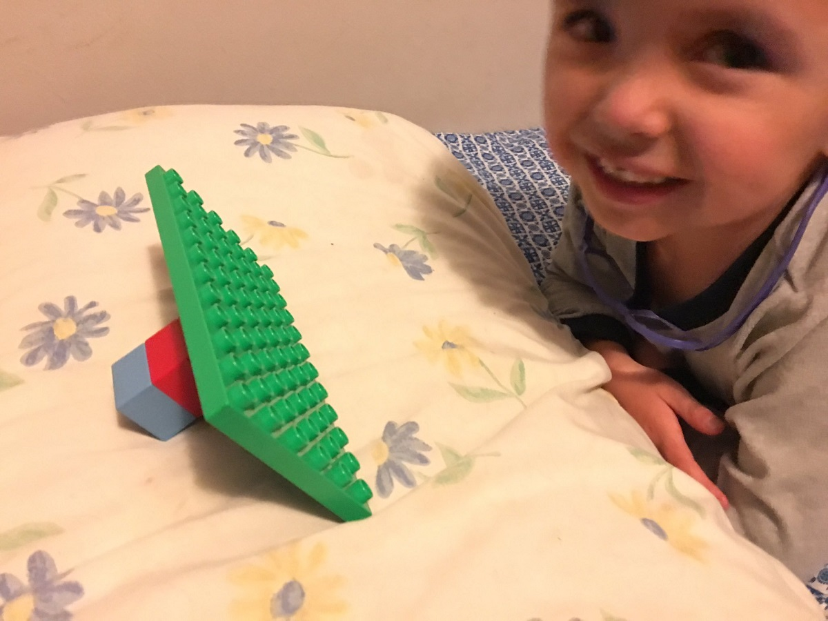 Four year old makes a Lego iPad and stand