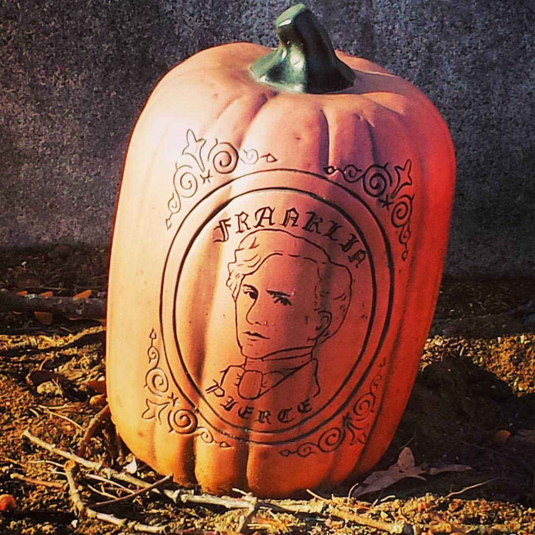 A pumpkin decorated with Franklin Pierce