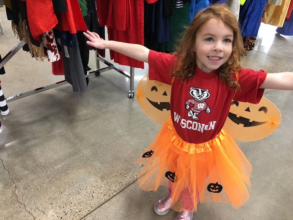 "Three year old as a ""pumpkin fairy"""