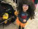 """Four year old as a """"pumpkin fairy"""" with a giant wig"""