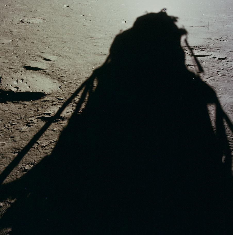 shadow of the Apollo 12 lunar module on the surface of the moon. (Photo via NASA)