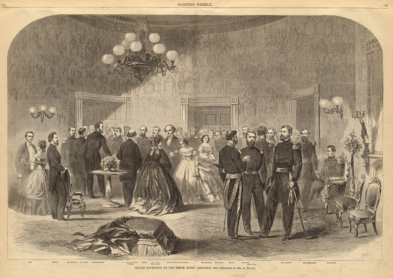 """""""Grand Reception At The White House, 1862"""" via Smithsonian OpenAccess Grand Reception at the White House, January, 1862 https://www.si.edu/object/grand-reception-white-house-january-1862:npg_NPG.83.241"""