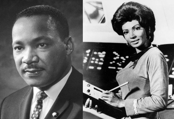 A portrait of Dr. Martin Luther King, Jr. and a photo of Nichelle Nichols in a Star Trek-like costume