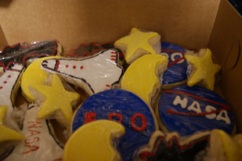 Sugar cookies decorated to look like rocket ships, stars, moons and the NASA logo. (Tammie L-B via Flickr/Creative Commons https://flic.kr/p/cbABQY)