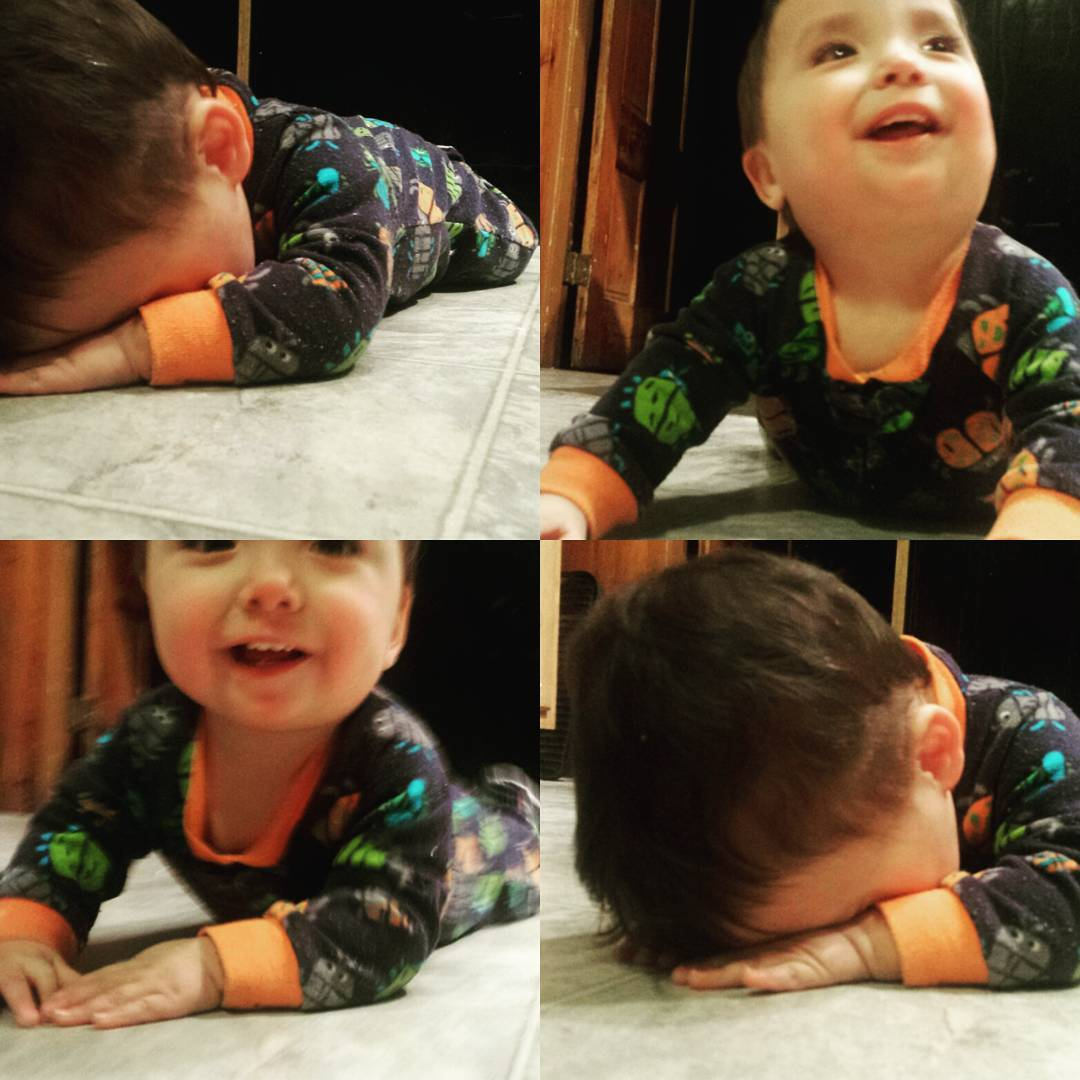 One year old is almost crawling