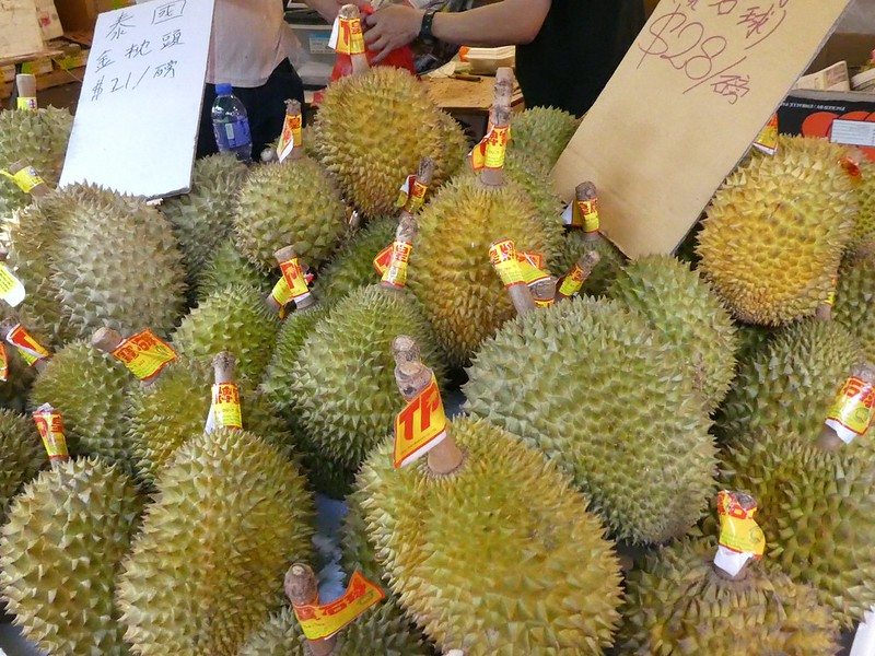 Durian fruit (photo by Verity Cridland via Flickr/Creative Commons https://flic.kr/p/L8wGVS)