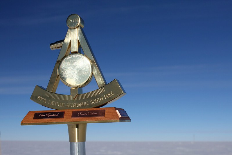 Geographic South Pole Marker (photo by Eli Duke via Flickr/Creative Commons https://flic.kr/p/9EHG93)