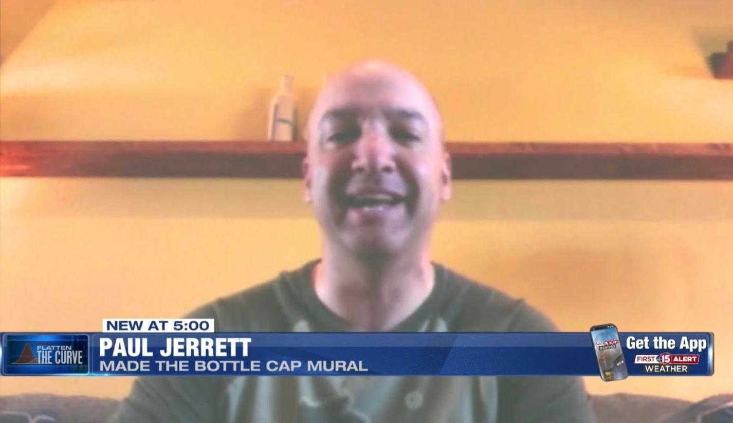 Paul Jerrett: Made The Bottle Cap Mural