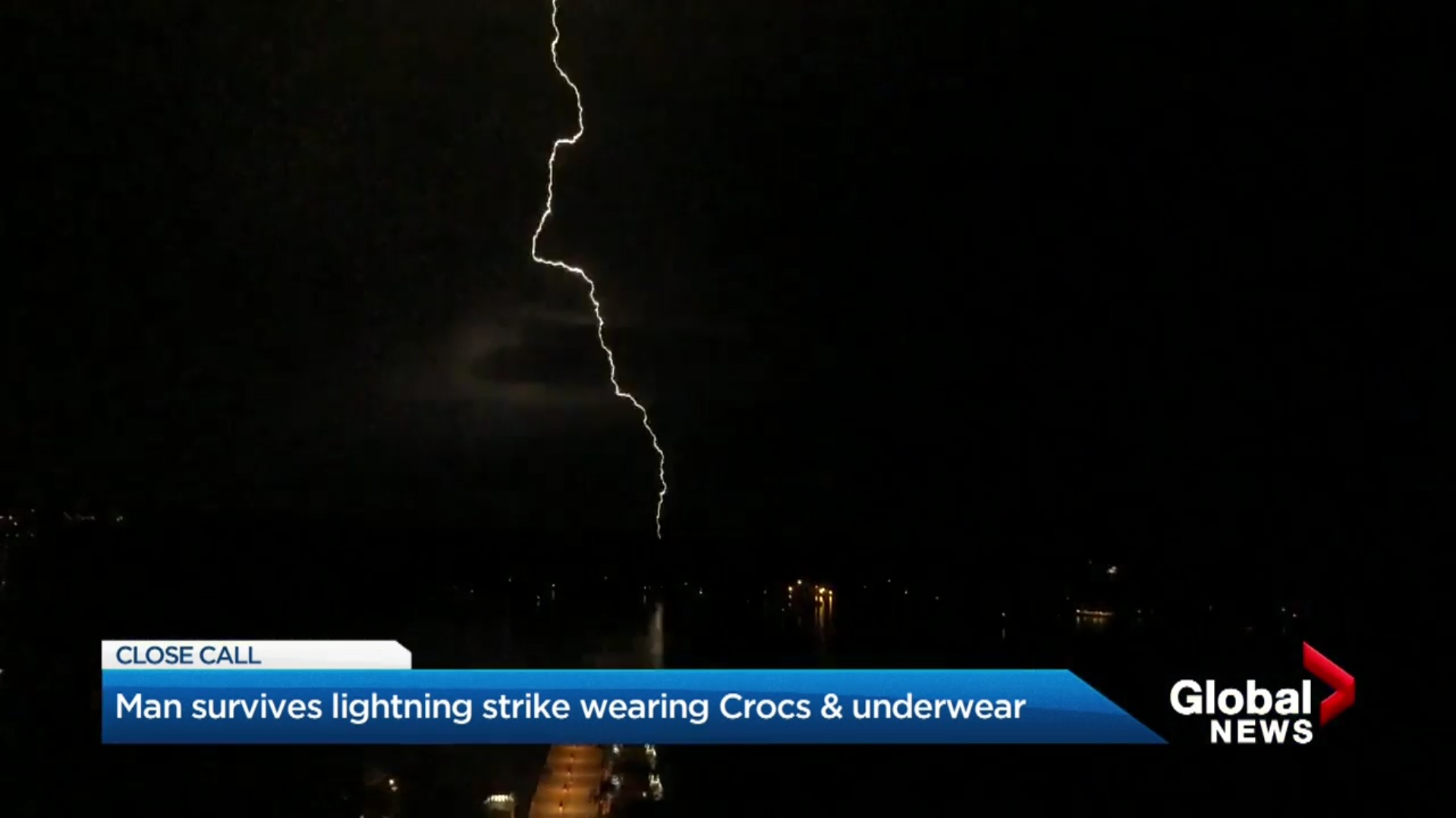Man survives lightning strike wearing Crocs & underwear