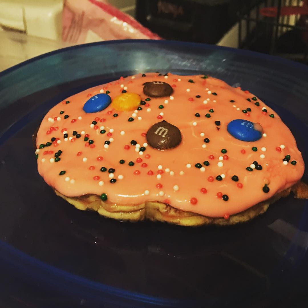 Frosted chocolate chip pancake