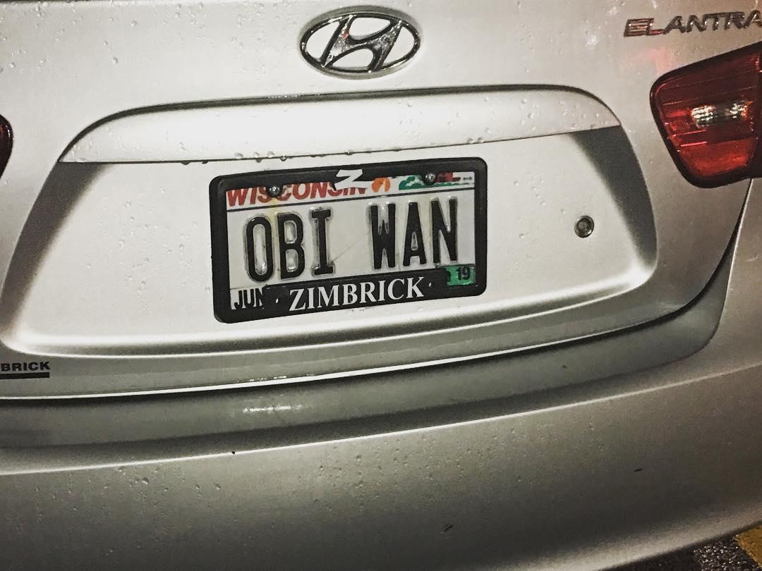 "Wisconsin license plate says ""OBI WAN"""